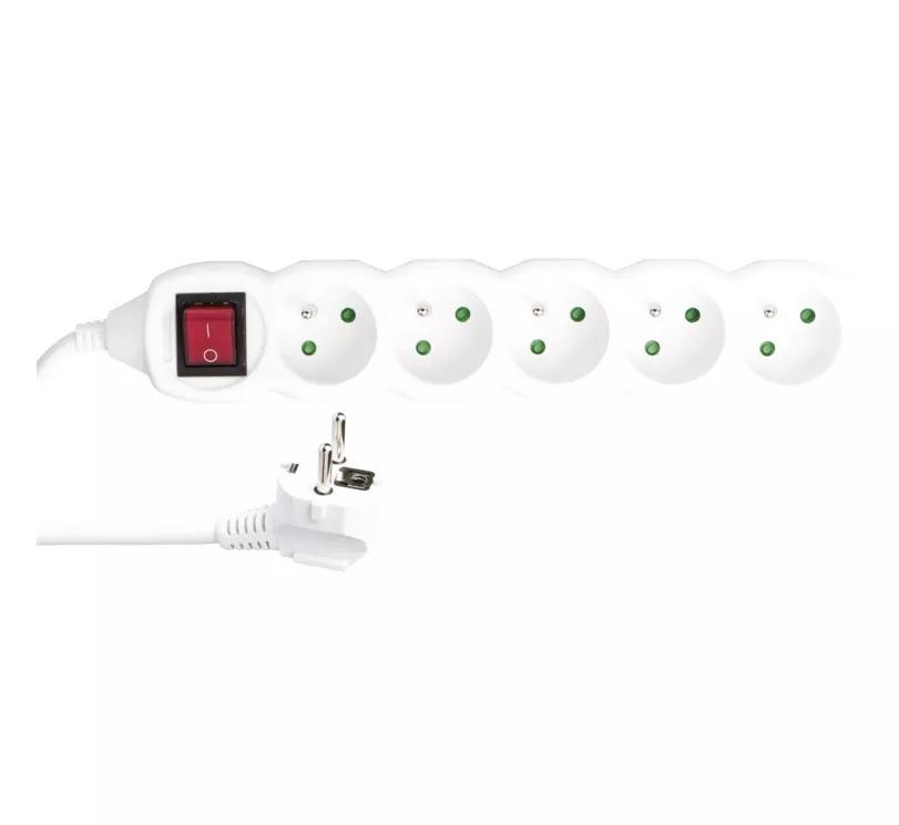 EMOS Prodlužovací kabel s vypínačem – 5 zásuvek, 5m, 3x 1,5mm2