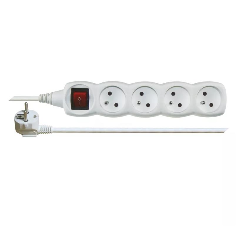 EMOS Prodlužovací kabel s vypínačem – 4 zásuvky, 5m, bílý
