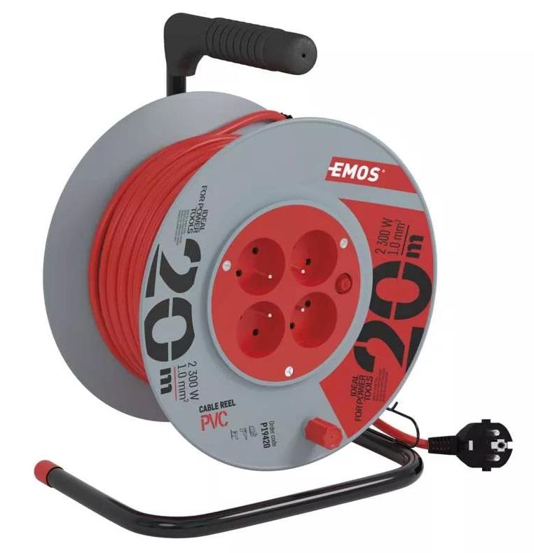 EMOS PVC prodlužovací kabel na bubnu – 4 zásuvky, 20m, 1mm2