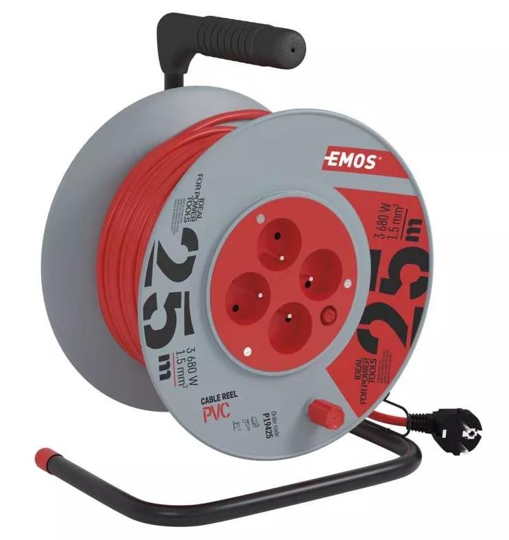 EMOS PVC prodlužovací kabel na bubnu – 4 zásuvky, 25m 1,5mm2