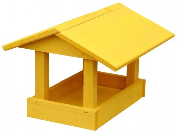 Krmítko dřevěné žluté 24x40x20 cm