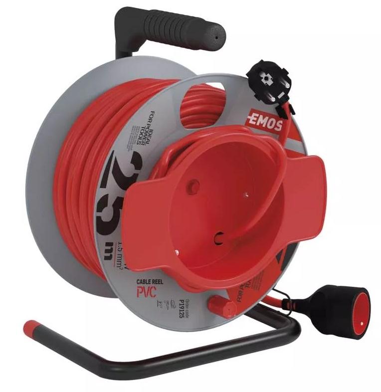 EMOS PVC prodlužovací kabel na bubnu – spojka, 25m, 1,5mm2