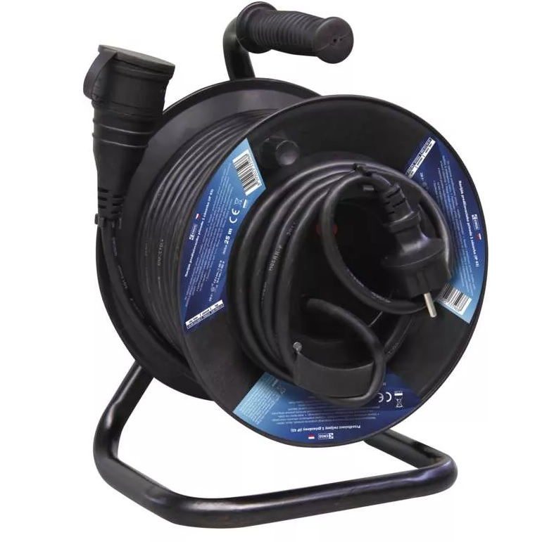 EMOS Gumový prodlužovací kabel na bubnu – spojka, 25m, 1,5mm2