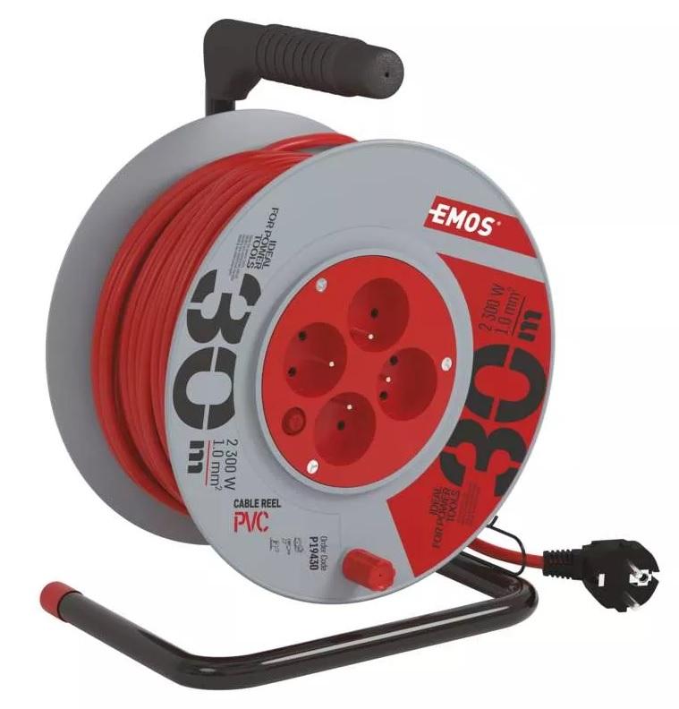 EMOS PVC prodlužovací kabel na bubnu – 4 zásuvky, 30m, 1mm2