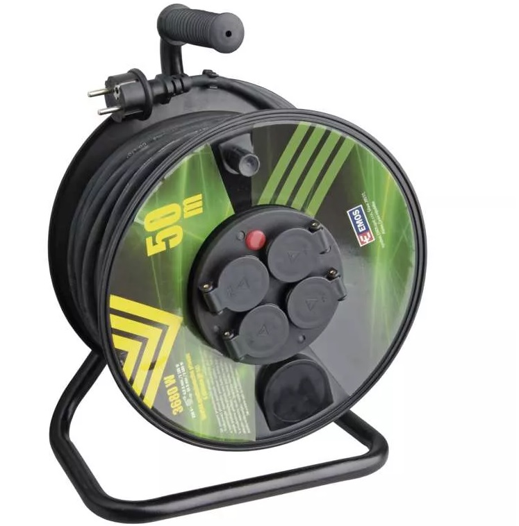 EMOS Gumový prodlužovací kabel na bubnu – 4 zásuvky, 50m, 1,5mm2