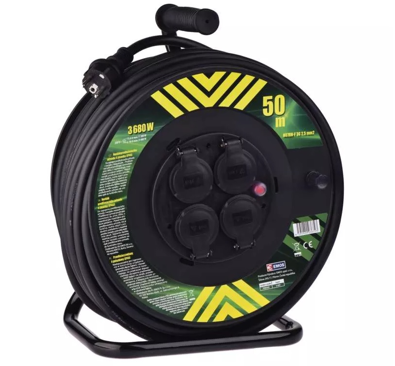 EMOS Gumový prodlužovací kabel na bubnu – 4 zásuvky, 50m, 2,5mm2