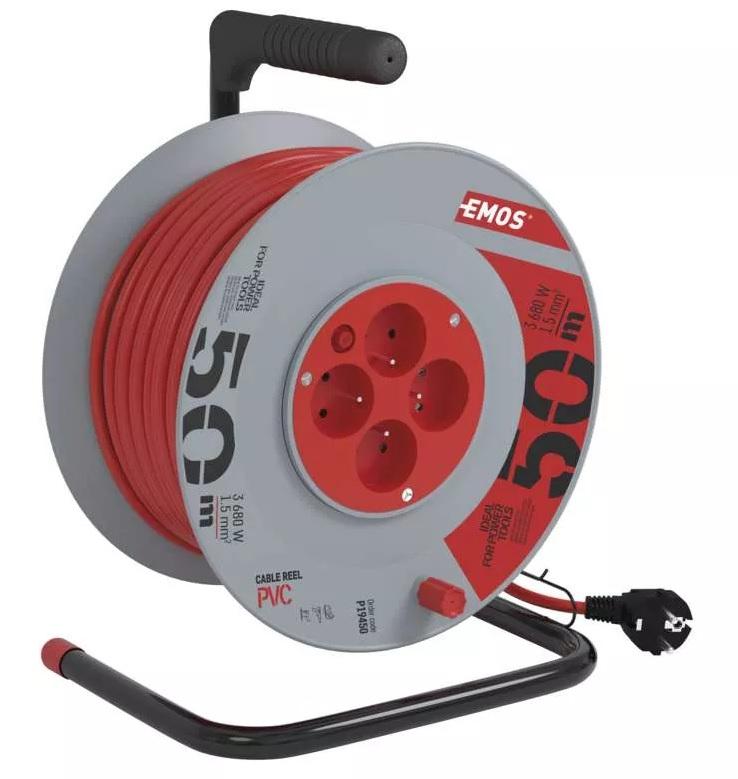 EMOS PVC prodlužovací kabel na bubnu – 4 zásuvky, 50m, 1,5mm2