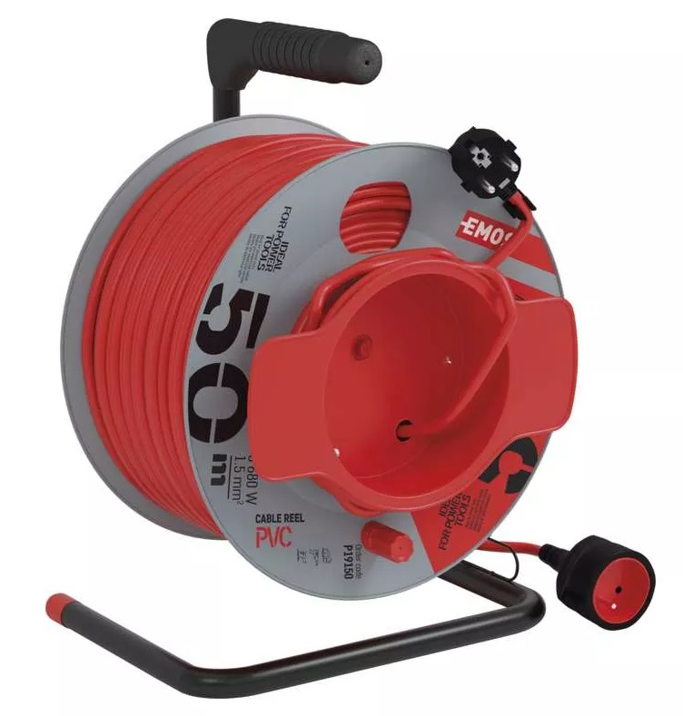 EMOS PVC prodlužovací kabel na bubnu – spojka, 50m, 1,5mm2