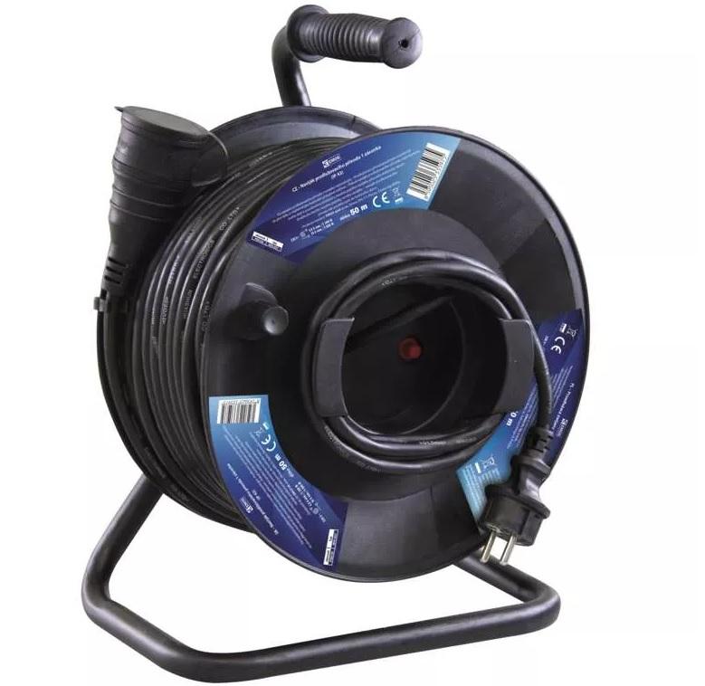 EMOS Gumový prodlužovací kabel na bubnu – spojka, 50m, 1,5mm2