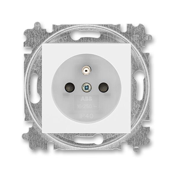 ABB 5519H-A02357 01 Zásuvka jednonásobná s ochranným kolíkem, s clonkami