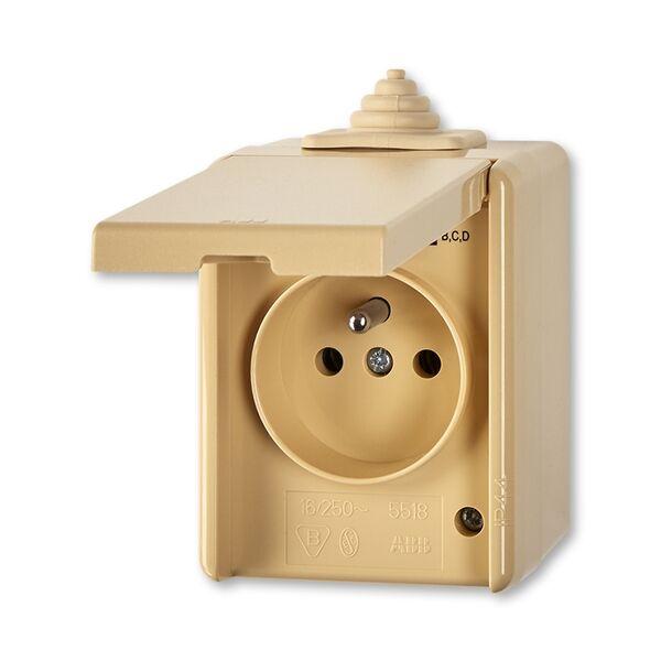 ABB 5518-2929 D Zásuvka jednonásobná s víčkem, IP 44 PRAKTIK béžová