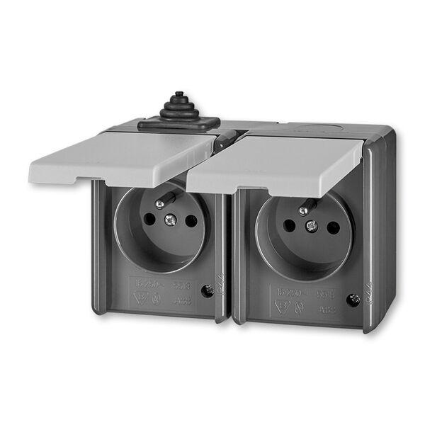 ABB 5518-2029 S Zásuvka dvojnásobná s víčky, IP 44 PRAKTIK šedá