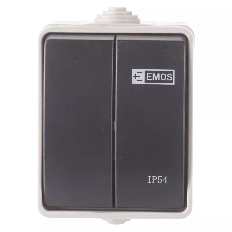 EMOS A1398.1 Přepínač nástěnný č. 5 IP54, 2 tlačítka