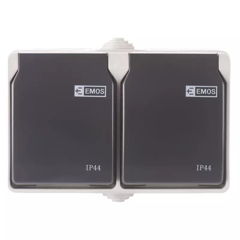 EMOS A1397.1 Zásuvka nástěnná dvojitá, šedo-černá, IP44