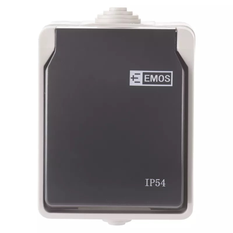 EMOS A1397 Zásuvka nástěnná, šedo-černá, IP54