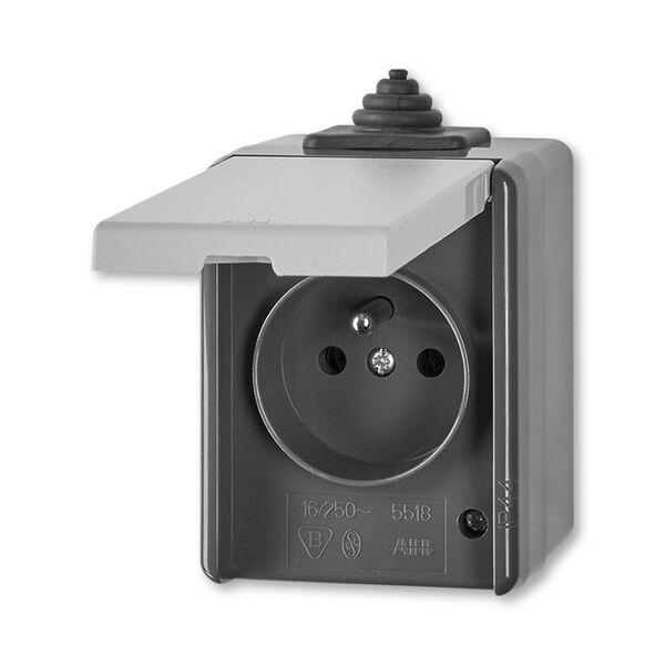 ABB 5518-2929 S Zásuvka jednonásobná s víčkem, IP 44 PRAKTIK šedá