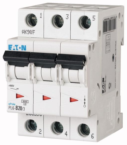 EATON PL6-B20/3 Jistič 3-P, B, 20A, 6KA