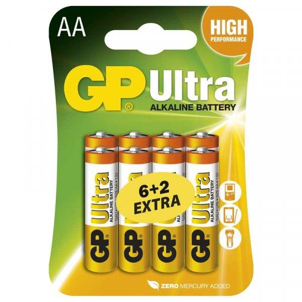 GP Ultra Baterie alkalická LR6 6+2BL