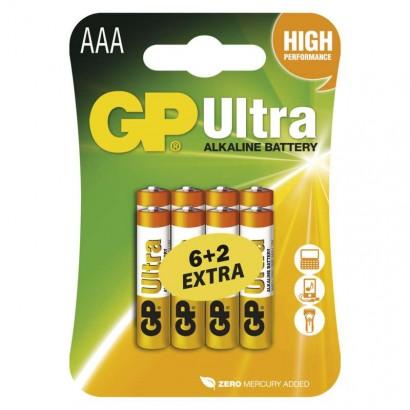 GP Ultra Baterie alkalická LR03 6+2BL