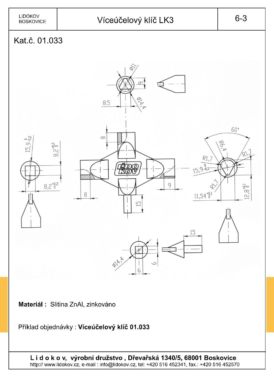 LIDOKOV 01.033 Klíč víceúčelový LK 3