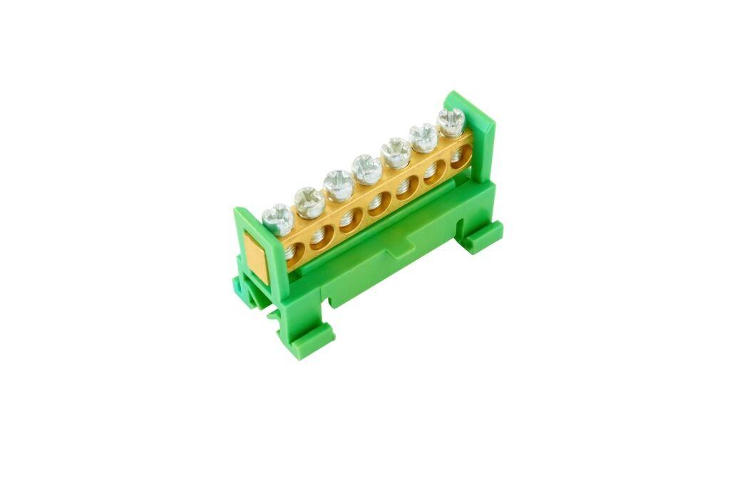 ELEMAN Propojovací můstek 7 svorek, zelený PE, maximální průřez pevného vodiče 16mm2, 660V, 63A