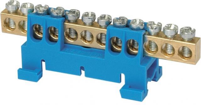 SEZ Propojovací můstek 12 svorek, modrý N, maximální průřez pevného vodiče 16mm2, 660V, 63A