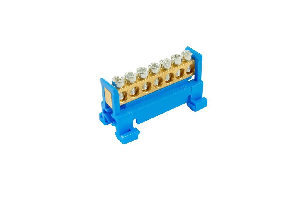 ELEMAN Propojovací můstek 7 svorek, modrý N, maximální průřez pevného vodiče 16mm2, 660V, 63A