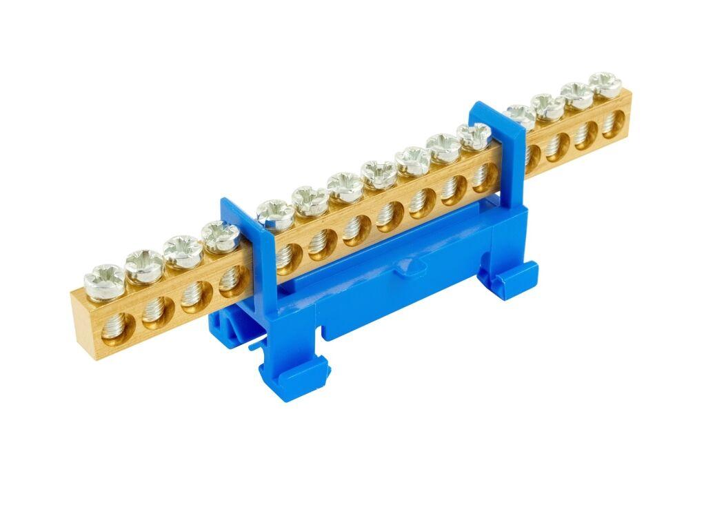 ELEMAN Propojovací můstek 15 svorek, modrý N, maximální průřez pevného vodiče 16mm2, 660V, 63A