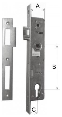 Zámek zadlabací 45/90/30mm P/L, europortal s protiplechem K60/72 P-L ZN